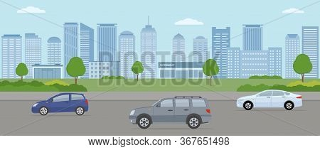 Modern City. City Life Illustration With House Facades, Road And Other Urban Details.  Panoramic Vie