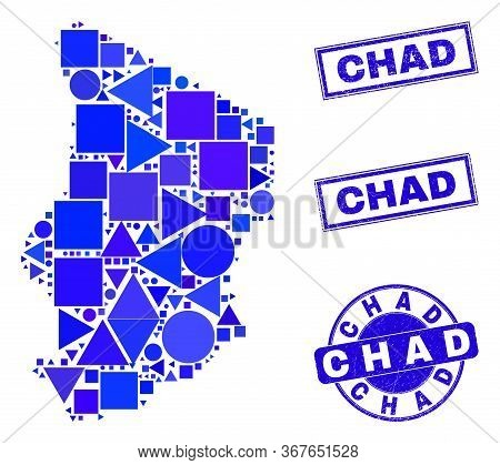 Vector Mosaic Chad Map. Geographic Collage In Blue Color Tints, And Scratched Round And Rectangle St