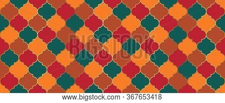 Seamless Moroccan Mosaic Ornament. Moroccan Seamless Design Arabic Mosque Window Shape. Ramadan Kare