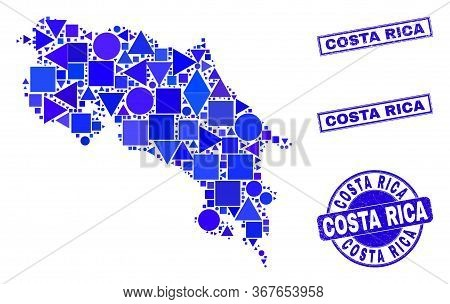 Vector Mosaic Costa Rica Map. Geographic Collage In Blue Color Tinges, And Dirty Round And Rectangle