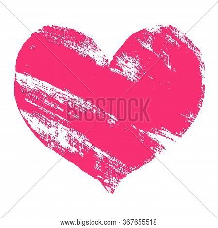 Hand Paint Pink Acrylic Heart Isolated On White Background, Vector Illustration