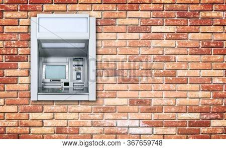 Atm Machine on brick wall
