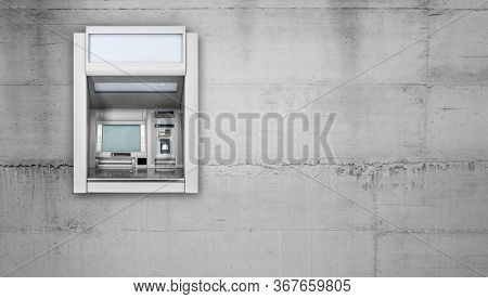 Atm Machine on concrete wall