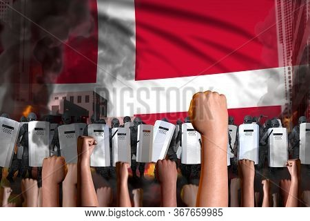 Protest In Denmark - Police Guards Stand Against The Protesting Crowd On Flag Background, Revolt Fig