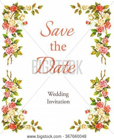 Save The Date, Template  For Design, Decoration, Banner, Decoupage, Greeting Card, Invitation.