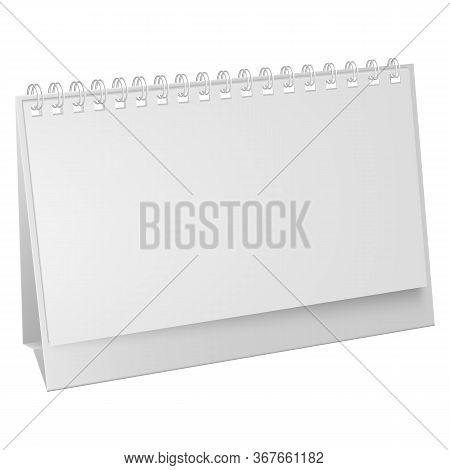 White Blank Paper Desk Spiral Calendar. Vertical Realistic Paper Calendar Blank. Blank Desktop Calen