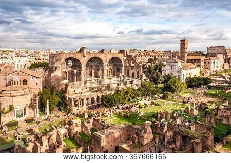 Ancient Architecture On The Roman Forum Under The Cloudy Sky