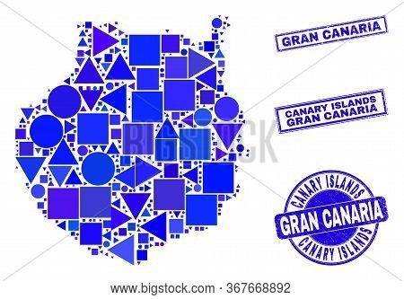 Vector Mosaic Gran Canaria Map. Geographic Scheme In Blue Color Tones, And Textured Round And Rectan