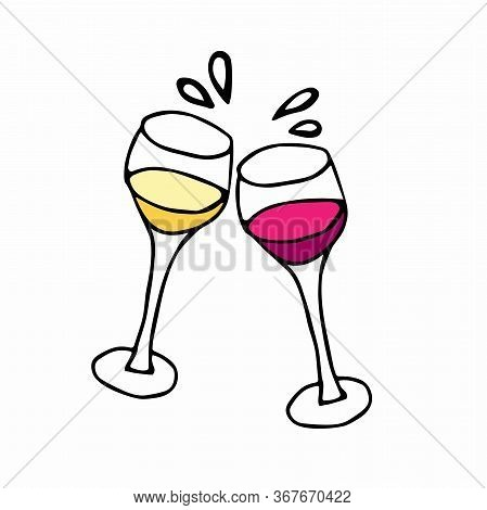 Two Glasses Of Wine With White And Red Wine. Vector Cheers Idoodle Sketch Illustration.hand Drawn Ca