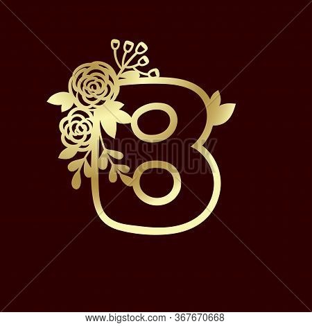 Delicate Pattern For Cutting Letter B With Tender Wildflowers. Paper Art. Golden Die Cutting For Scr