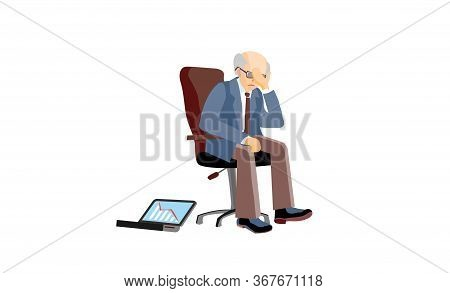 Businessman Loss Its Job As Stock Bankrupt. Crisis Information To Broker In Digital Graphic Reports