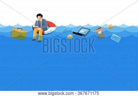Desperate Businessman Sits On Lifebuoy, Covers Face With Hand. Business Drowning, Ask To Help, Urgen