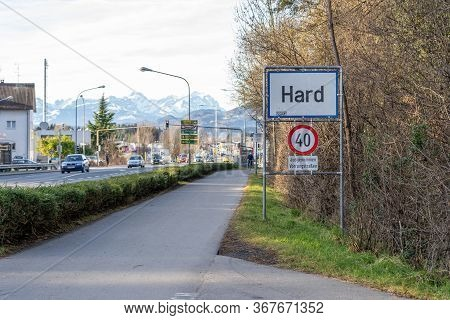Feb 1, 2020 - Hard, Austria: Guidepost Of Hard , Small Austria Town Close To Germany Border, With Ro