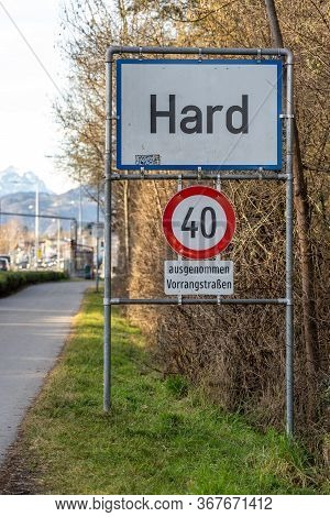 Feb 1, 2020 - Hard, Austria: Guidepost Of Hard , Austria Town Close To German Border, With Road Sign