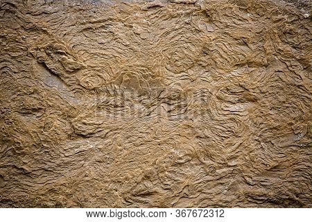 Vintage Layered Brick Texture. Exfoliating Texture Of An Old Building Stone. Super Close Up Shot. Ba