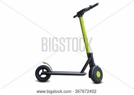 Lime Urban Electric Scooter, Kick City Bike Isolated On White. Street Motorcycle On Business Transpo
