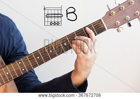 Learn Guitar - Man In A Dark Blue Shirt Playing Guitar Chords Displayed On Whiteboard, Chord B