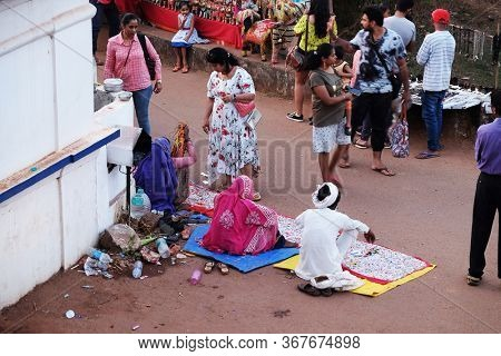 ANJUNA, INDIA - FEBRUARY 19, 2020: Famous weekly flea market in Anjuna, Goa, India