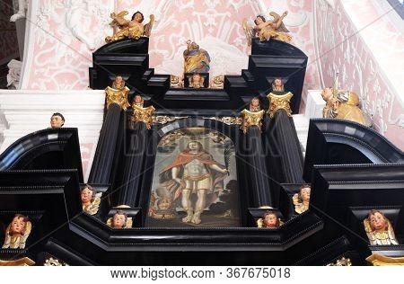 ZAGREB, CROATIA - SEPTEMER 26, 2018: Saint Vitus, altar of Saint Dionysius in the Church of Saint Catherine of Alexandria in Zagreb, Croatia