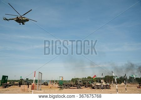 Tyumen, Russia - August 11, 2019: International Army Games. Safe Route Contest. Motion Of Military C