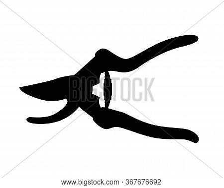 Silhouette Of Garden Shears. Secateurs - Vector Black Silhouette For Logo Or Pictogram. Secateurs Si