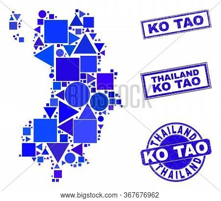 Vector Mosaic Ko Tao Map. Geographic Collage In Blue Color Tints, And Unclean Round And Rectangle Se