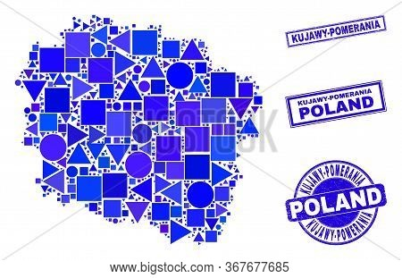 Vector Mosaic Kujawy-pomerania Province Map. Geographic Collage In Blue Color Tints, And Unclean Rou