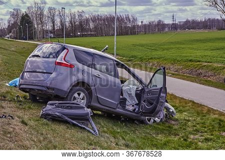 Car After Terrible Accident On A Highway,