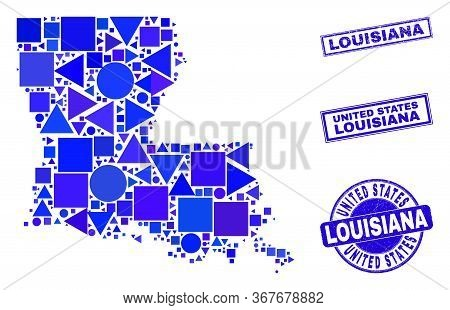 Vector Mosaic Louisiana State Map. Geographic Collage In Blue Color Shades, And Unclean Round And Re
