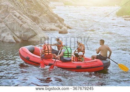 Ukraine Migea. 12 June 2018. Pivdenny Buh. A Group Of People Makes Rafting In The Waters Of The Rive