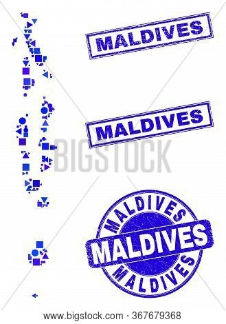 Vector Mosaic Maldives Map. Geographic Plan In Blue Color Tinges, And Textured Round And Rectangle S