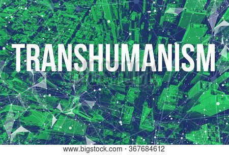 Transhumanism Theme With Abstract Network Patterns And Manhattan Ny Skyscrapers