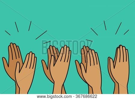 Crowd Cheering, People Clap Their Hands, Applause For Winner, Delight. Vector Flat Illustration