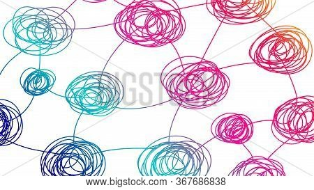 Mind Map Background. Pattern With Tangled Tangles. Idea Of Brainstorm, Creative. Backdrop For Websit