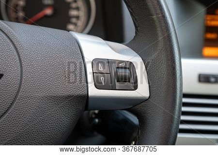 Novosibirsk/ Russia - May 03 2020:  Opel Astra, New Black Steering Wheel With Multifunction Buttons