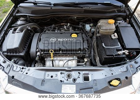 Novosibirsk/ Russia - May 03 2020:  Opel Astra, Close Up Detail Of  Car Engine, Front View. Internal