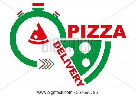 Fast Speedy Pizza Delivery Vector Drawing Sign