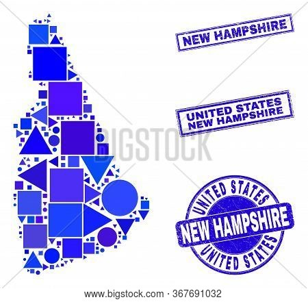 Vector Mosaic New Hampshire State Map. Geographic Plan In Blue Color Shades, And Corroded Round And