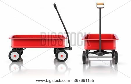 Ide And Front View Of Vintage Child's Toy Mini Wagon - 3d Illustration