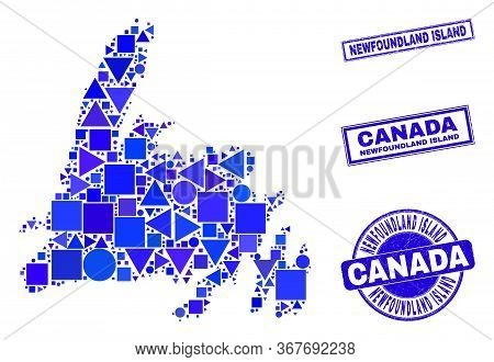 Vector Mosaic Newfoundland Island Map. Geographic Collage In Blue Color Tinges, And Corroded Round A