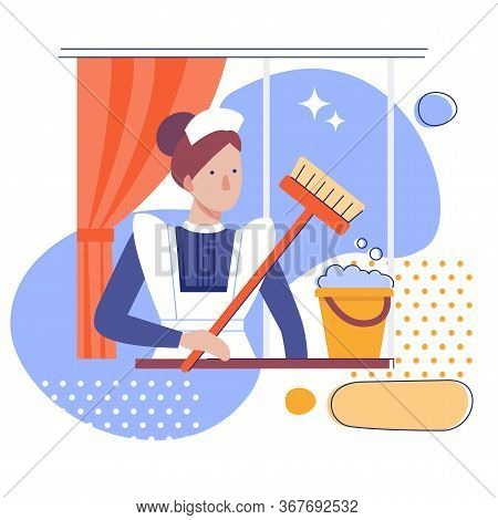 A Maid Or Female Cleaner With A Bucket And Mop