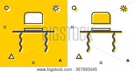Black Orthodox Jewish Hat With Sidelocks Icon Isolated On Yellow And White Background. Jewish Men In