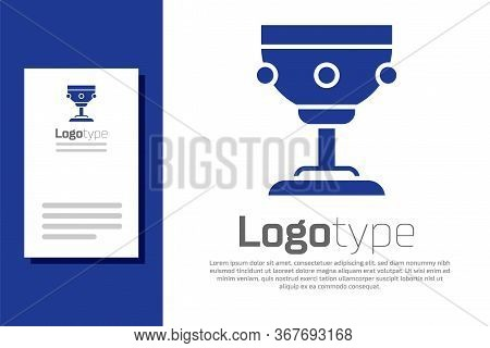 Blue Christian Chalice Icon Isolated On White Background. Christianity Icon. Happy Easter. Logo Desi