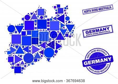 Vector Mosaic North Rhine-westphalia Land Map. Geographic Scheme In Blue Color Tints, And Unclean Ro