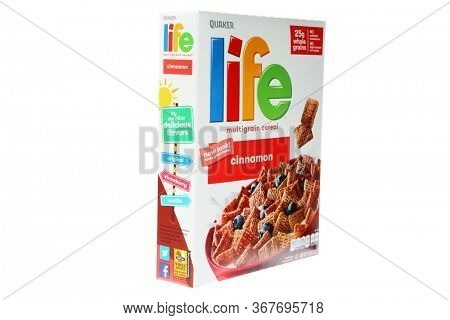 5-20-2020 Lake Forest, CA. USA; Cinnamon Life Cereal Box. Quaker Life Cereal isolated on white. Editorial Image.