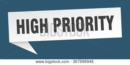 High Priority Speech Bubble. High Priority Ribbon Sign. High Priority Banner