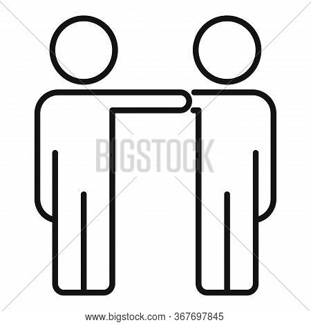 Friends Collaboration Icon. Outline Friends Collaboration Vector Icon For Web Design Isolated On Whi