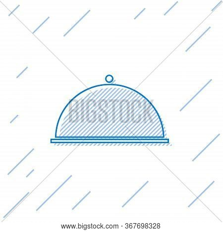 Blue Line Covered With A Tray Of Food Icon Isolated On White Background. Tray And Lid. Restaurant Cl