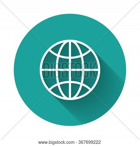 White Line Worldwide Icon Isolated With Long Shadow. Pin On Globe. Green Circle Button. Vector