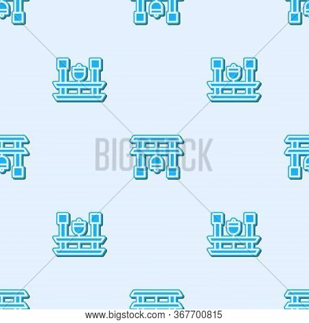 Blue Line Japan Gate Icon Isolated Seamless Pattern On Grey Background. Torii Gate Sign. Japanese Tr